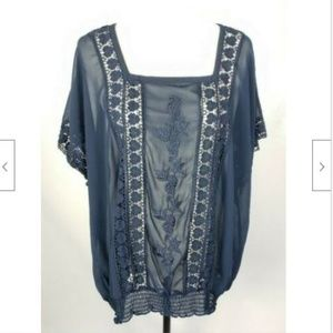CJ Banks Blouse Top 1X Plus Sheer Navy Blue Floral